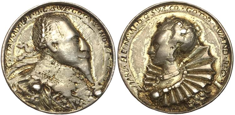 Sverige - Gustav II Adolf och Maria Eleonora förgylld silvermedalj 1626