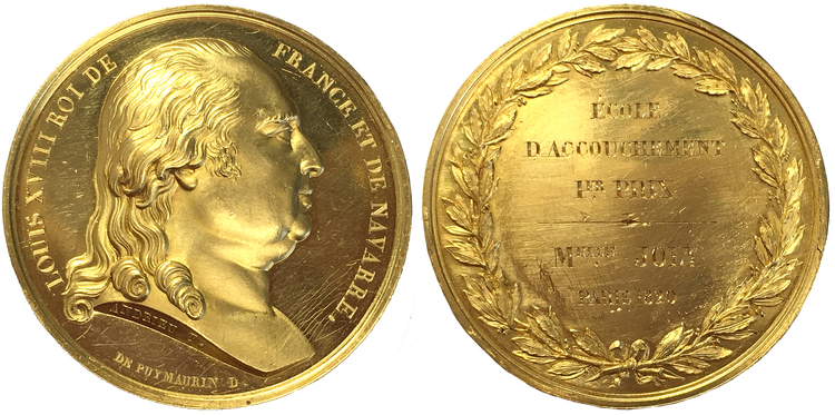 Frankrike, Louis XVIII - Guldmedalj 1820 - EXTREMT RAR - RR