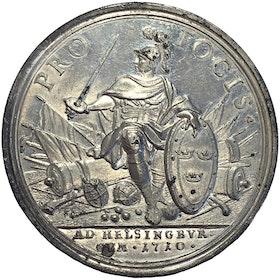 Karl XII - Segern över danskarna vid Helsingborg 1710 - Sällsynt -Toppkvalitet av Philipp Heinrich Müller