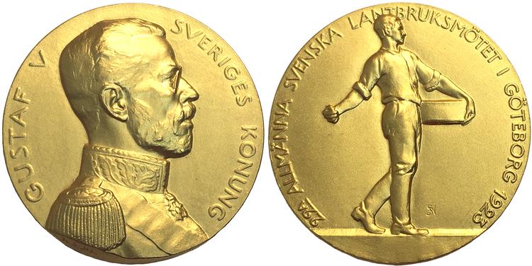 Göteborgsutställningen 1923 - guldmedalj - UNIK I PRIVAT ÄGO graverad av Svante Nilsson - Pris på förfrågan!