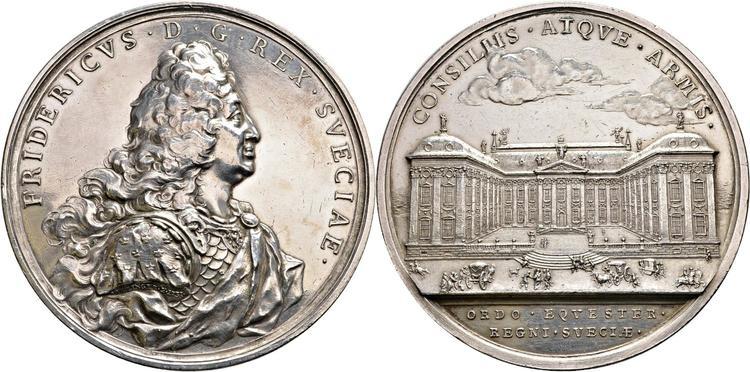 Fredrik I - till minne av Riddarhuset i Stockholm 1731, graverad av J. C. Hedlinger - SÄLLSYNT