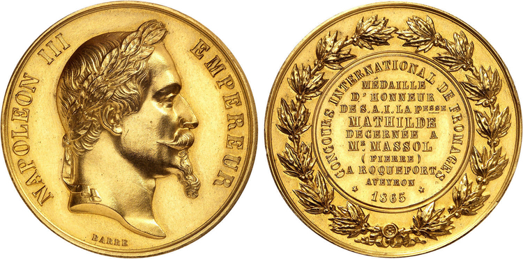 Napolen III - Stor guldmedalj till Roqefortosten vid världsutställningen i Paris 1865 graverad av Barre