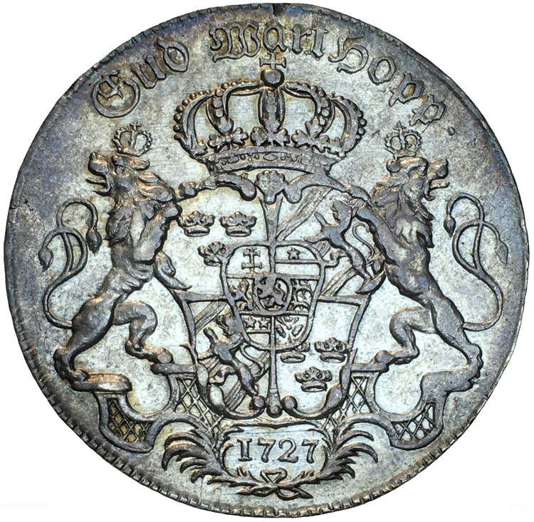 Fredrik I - Riksdaler 1727 med dubbelporträtt - Ett klassiskt och sällsynt typmynt i vacker kvalitet