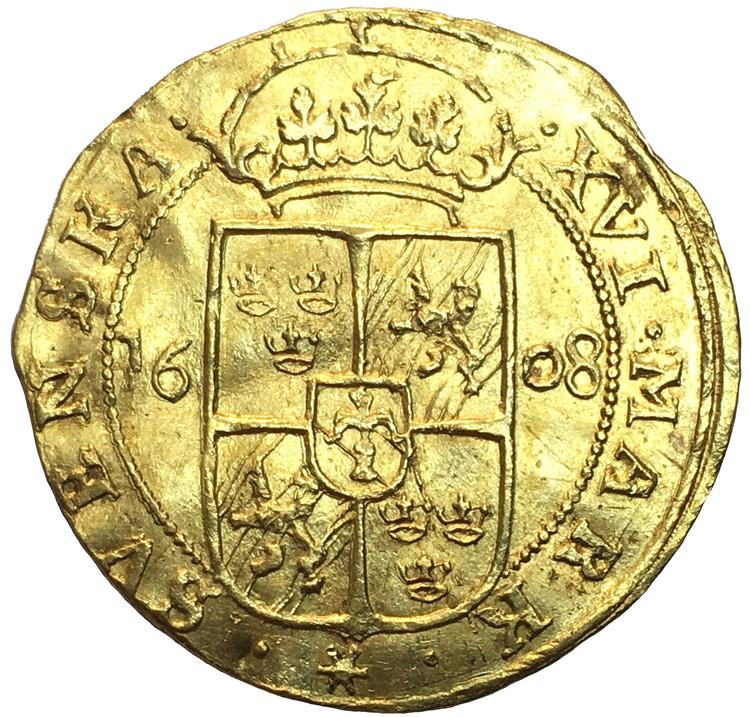 Sverige, Karl IX, Guldmynt 16 Mark 1608 - Det i särklass bäst bevarade av 4 kända exemplar - RRR