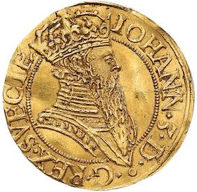 Johan III - Krongyllen 1570 - RRRR - Det bästa av två kända exemplar - Ett guldmynt och en numismatisk toppraritet