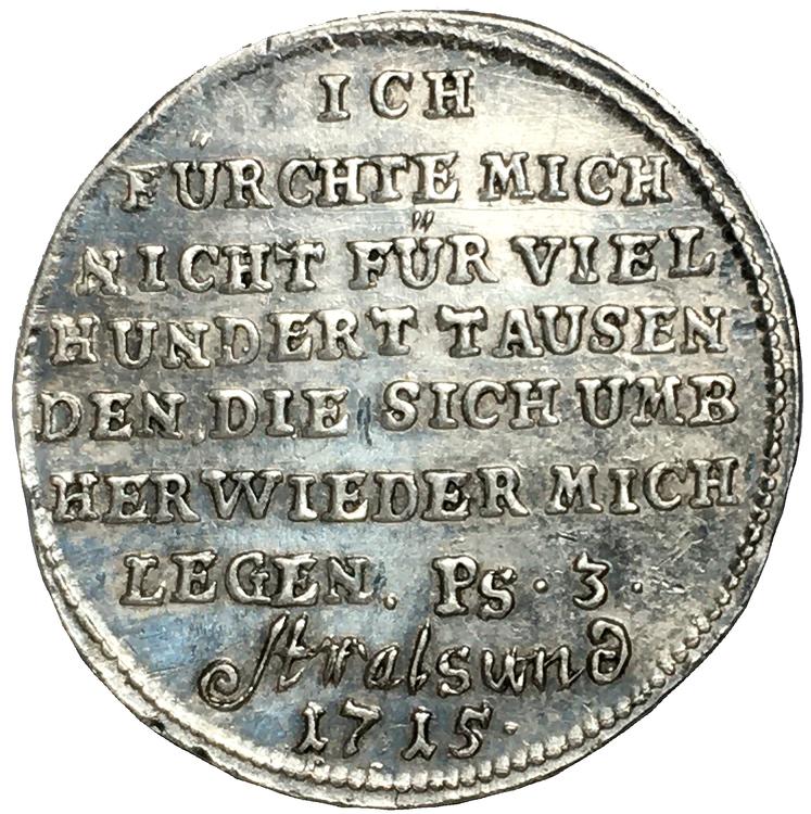 Karl XII, Stralsund, Dukat 1715 - AVSLAG I SILVER - SÄLLSYNT