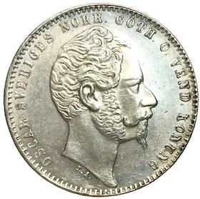 Oskar I - 1 Riksdaler riksmynt 1857 - kort pipskägg - VACKERT EXEMPLAR