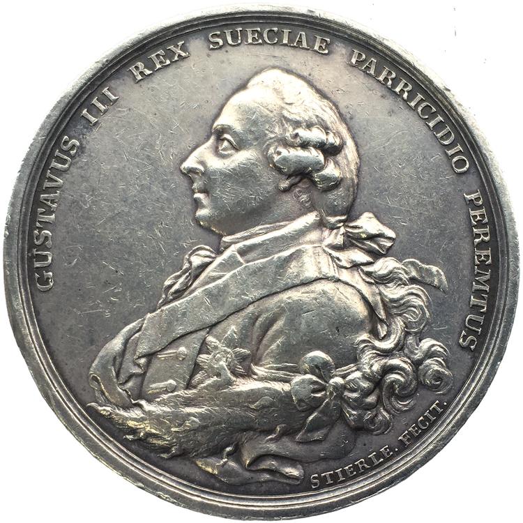 Gustav III - Konungens död 1792 graverad av  J. G. Stierle