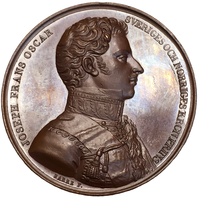 Karl XIV Johan med sonen, kronprins Oskar (I), av Barre - Ocirkulerat toppexemplar