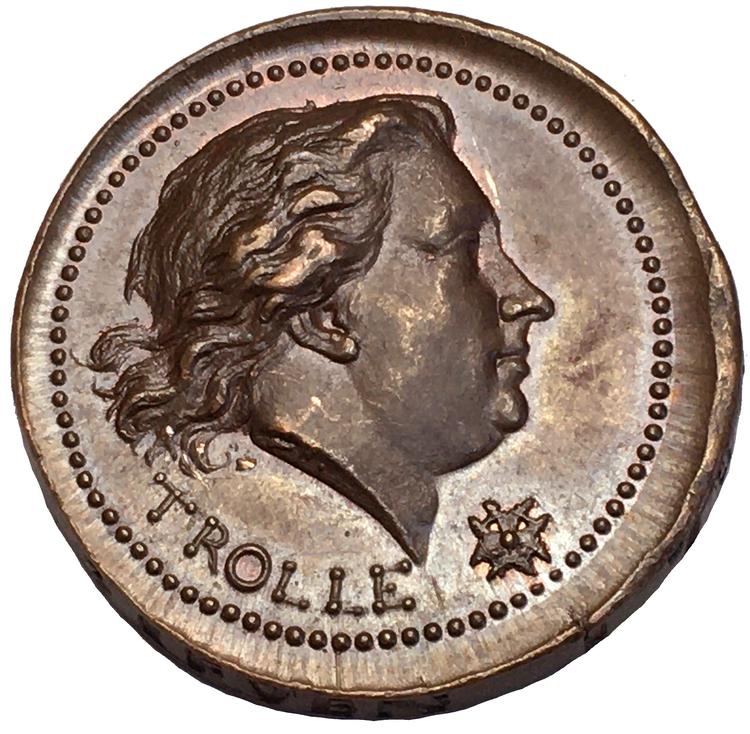 Henrik af Trolle,  (1730-1784) Generalamiral i svenska flottan - minnesmedalj utdelad 1784 graverad av Fehrman