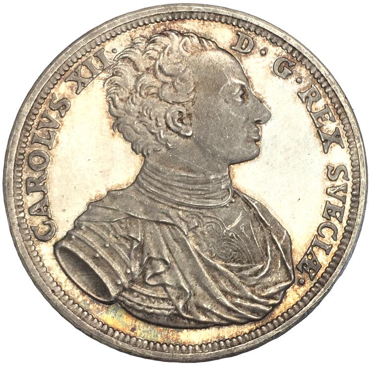 Karl XII, 200-årsminnet av hans död 1718-1918, graverad av S. Kulle