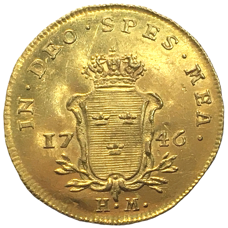 Sverige, Fredrik I 1720-1751 -  Gulddukat 1746 - VACKERT EXEMPLAR