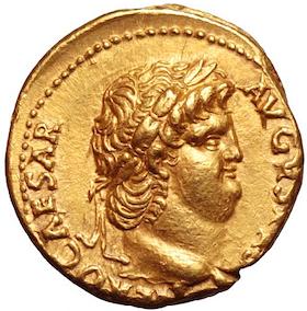 Romerska Riket, Nero 54-69 e.Kr. Aureus - Vackert porträtt
