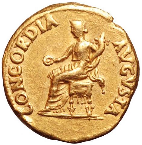 Romerska Riket, Nero 54-69 e.Kr. Aureus i guld - Vackert porträtt