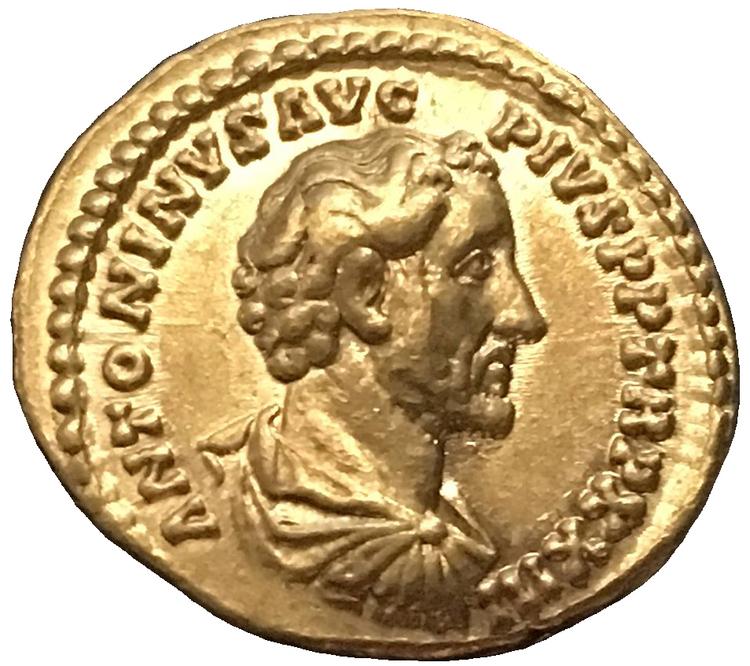 Antoninus Pius 138-161 e.Kr. Vacker aureus i guld med glans