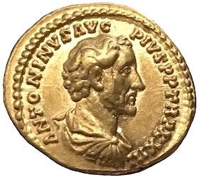 Antoninus Pius 138-161 e.Kr. Vacker aureus med glans
