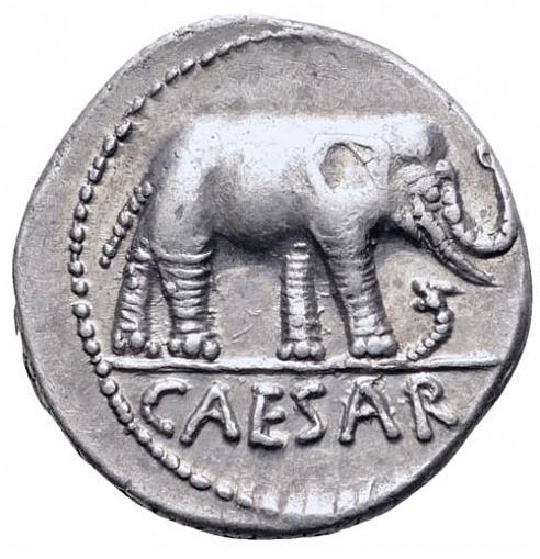 Romerska republiken, Julius Caesar, Vacker Elefantdenar