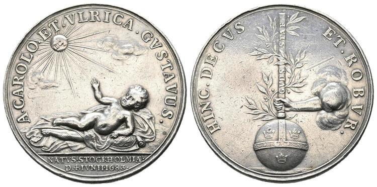 Karl XI - SIlvermedalj 1683 av Arvid Karlsteen till minne av sonen Gustav födelse - EXTREMT SÄLLSYNT - RRR