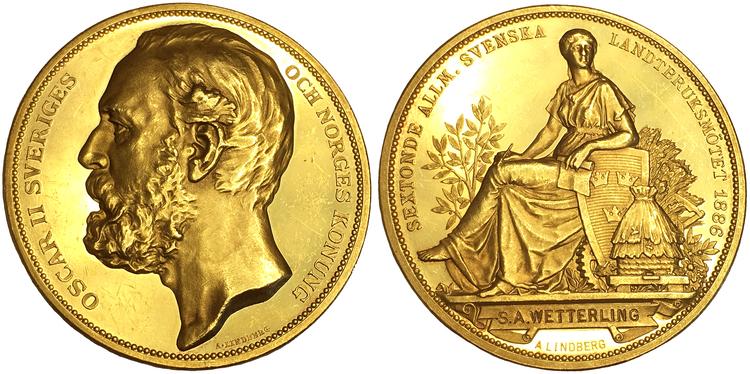Sverige - Guld - Oskar II - Sextonde allmänna svenska lantbruksmötet i Stockholm 1886 - XR - Pris på förfrågan!