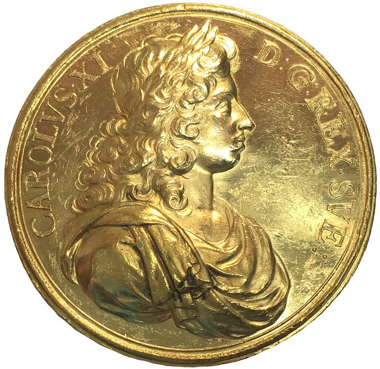 Sverige, Karl XI med föräldrarna Karl X Gustav & Hedvig Eleonora - 25 Dukater ca 1680 - GULD - UNIK  privat ägo - Pris på förfrågan!
