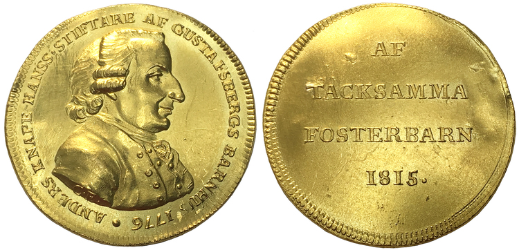Sverige, Gustav III, UNIK Guldmedalj i 5 dukaters vikt över Anders Hansson Knape 1720–1786, graverad av C Enhörning 1815