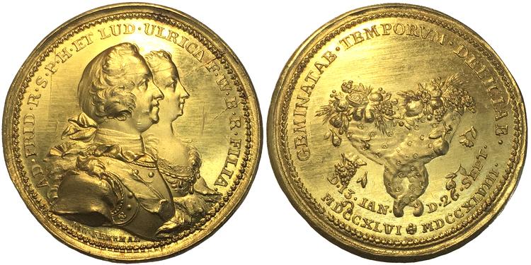 Adolf Fredrik - 10 dukater 1748 - Guldmedalj - UNIK i privat ägo