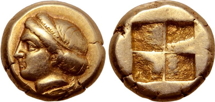 Ionien, Phokaia, Hekte i guld, ca 478-387 f.Kr.  - VACKER KVALITET