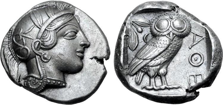 Attika, Aten, Tetradrachm i fin stil 454-404 f.Kr - MYCKET VACKERT SKICK PÅ STOR PLANTS