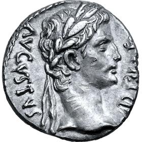 Romerska riket, Augustus, denar med kraftfullt porträtt - MYCKET VACKER!