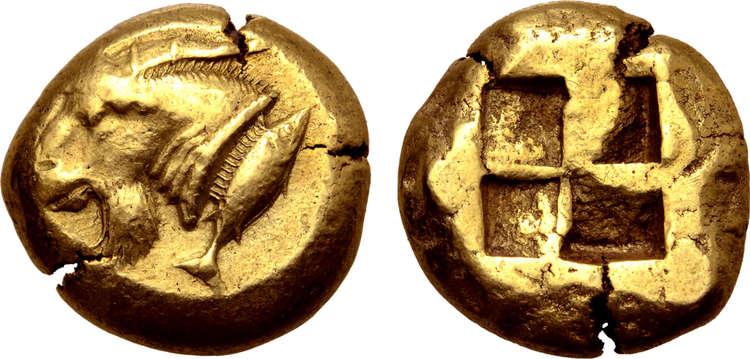 Mysien, Kyzikos, Stater, guld, ca 550-500 f.Kr - MYCKET VACKER OCH EXTREMT SÄLLSYNT!