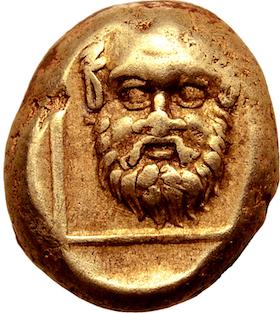Lesbos, Mytilene, Hekte, guld, ca 375-325 f.Kr. - Guden Silenos ansikte