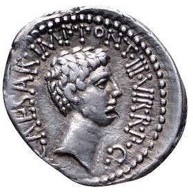 Romerska riket, Markus Antonius & Oktavianus, Silverdenar ca 41 f.Kr. - LÄCKERT EXEMPLAR