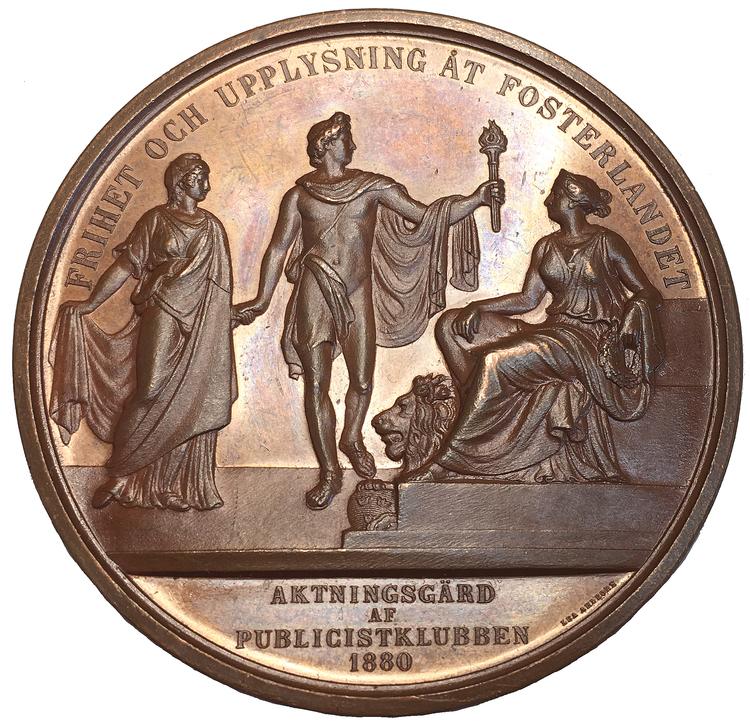 Pampig bronsmedalj till minne av Lars Johan Hierta - grundare av Aftonbladet och Liljeholmens Stearinfabrik - graverad av Lea Ahlborn