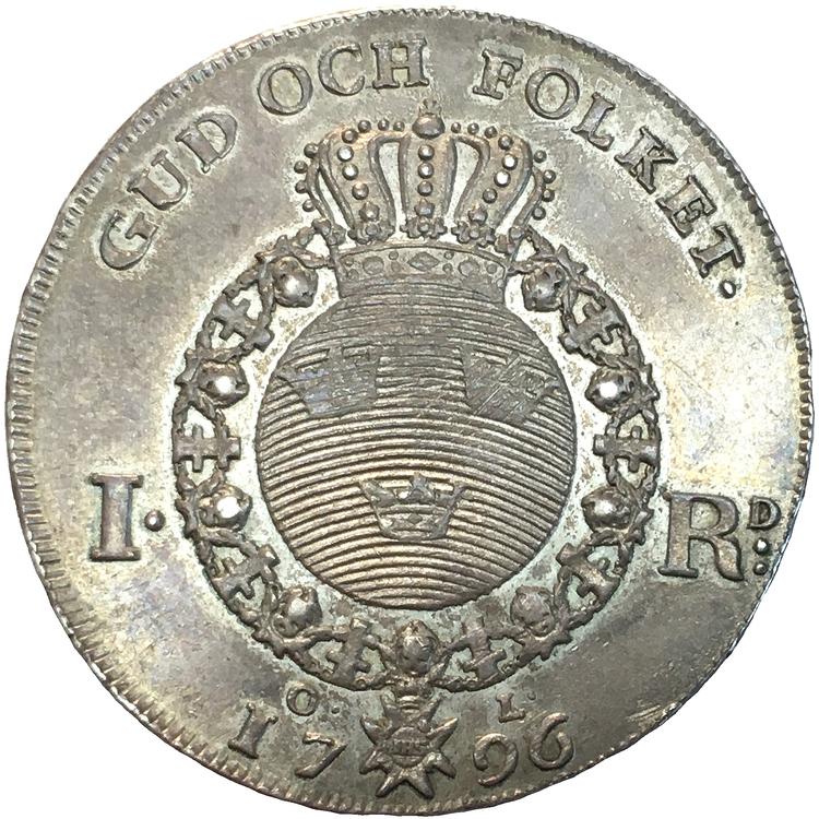 """Gustav IV Adolf - Riksdaler 1796 - Ett mycket vackert exemplar med fantastisk """"eye appeal"""""""