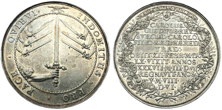Karl X Gustavs begravning, Riksdaler 1660, medaljpräglad, XR - PRAKTEXEMPLAR!
