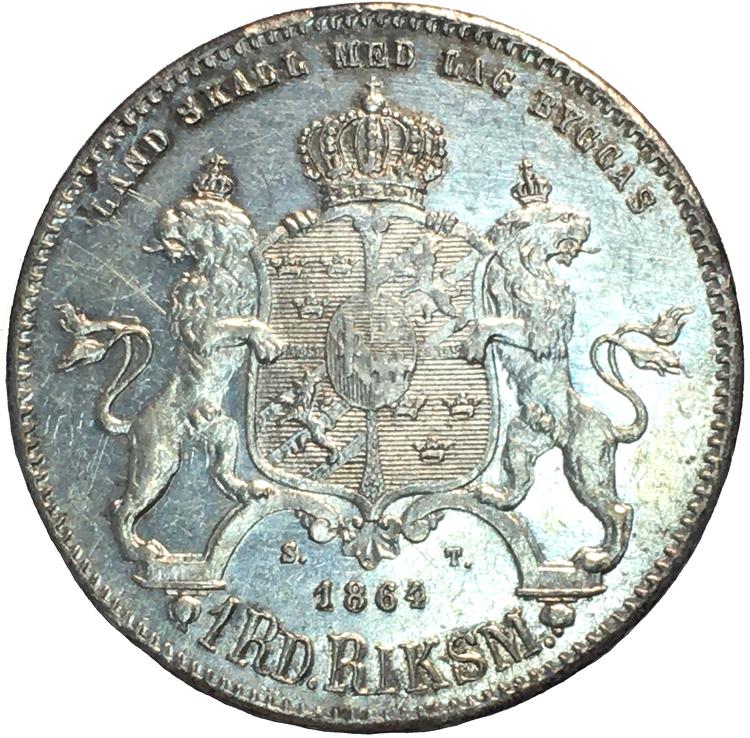 """Karl XV - 1 Riksdaler Riksmynt 1864 - Tilltalande exemplar med """"Eye Appeal"""""""