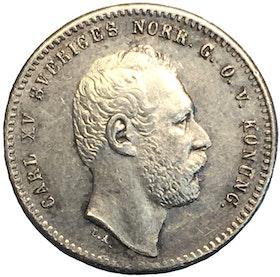 Karl XV 25 Öre 1865 - Vackert exemplar