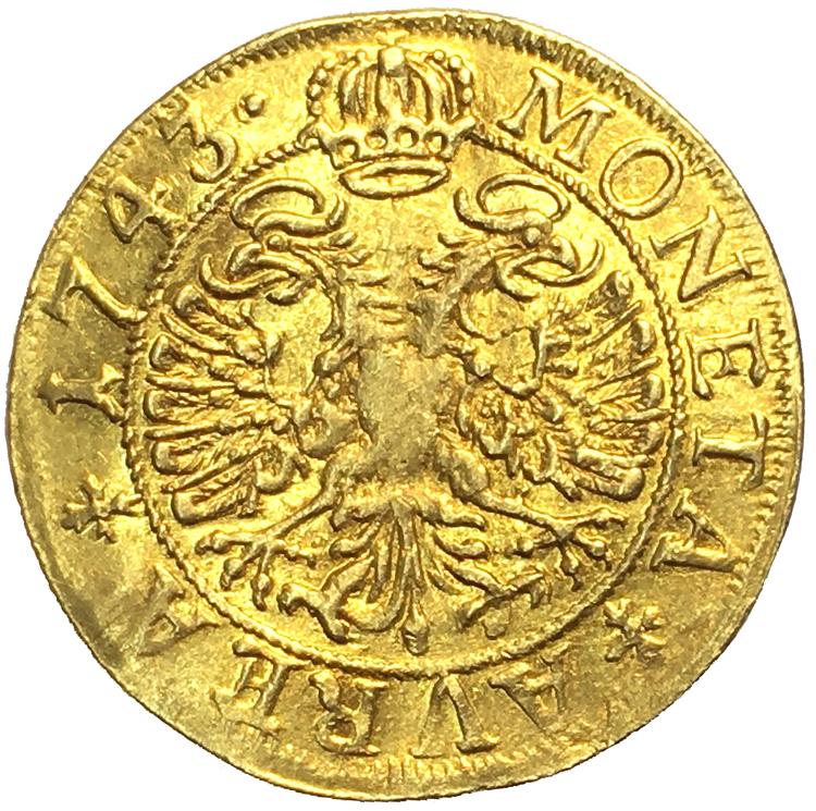 Sverige, Fredrik I 1720-1751, Wismar, Gulddukat 1743 - BRA EXEMPLAR