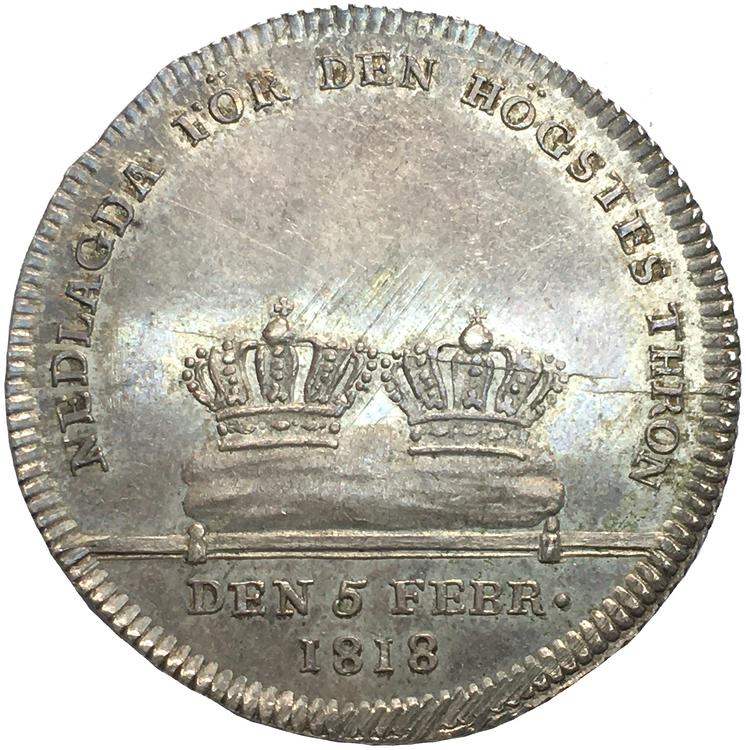 Karl XIII - Kastmynt till begravningen 1818 - Ett ocirkulerat praktexemplar