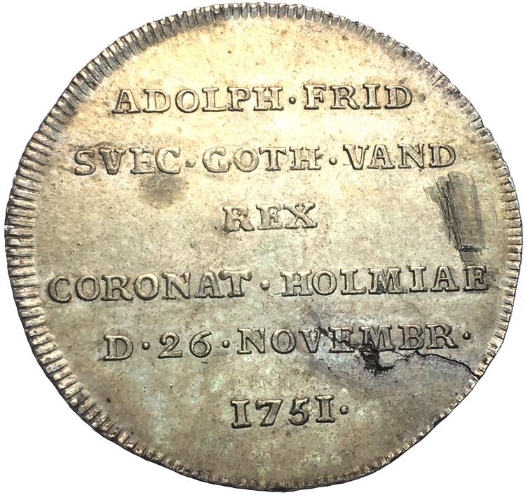 ADOLF FREDRIK - 1751-1771 - STOCKHOLM. 2 mark 1751. Kastmynt till kungens kröning - Vackert exemplar