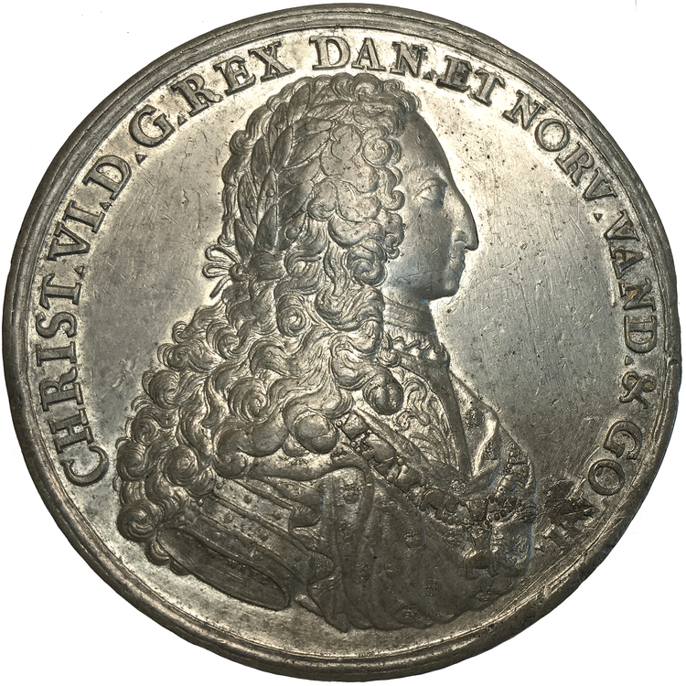 Danmark, Christian VI, pampig kröningsmedalj 1731 av G.W. Wahl