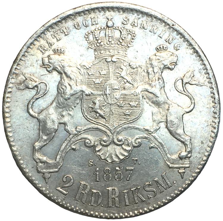 Oskar I, 2 Riksdaler riksmynt 1857 - Vackert exemplar
