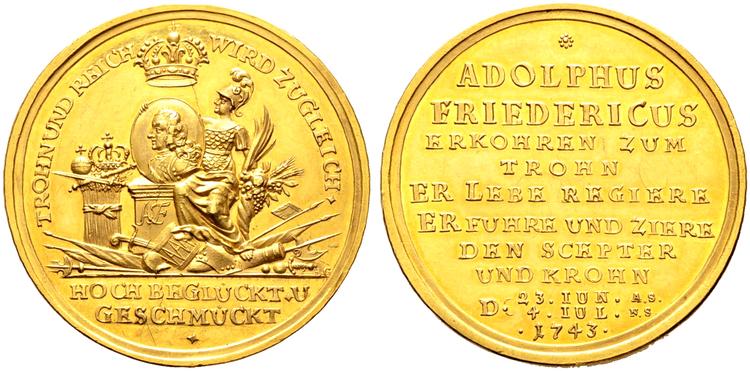 Adolf Fredrik - half portugalös - 5 dukater 1743 RRR av Paul Heinrich Gödeke - Ocirkulerat toppexemplar