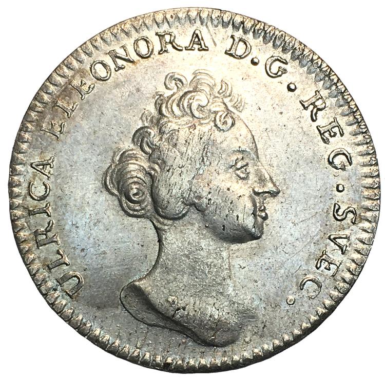 Ulrika Eleonora - Kastmynt till drottningens kröning den 17 mars 1719 - MYCKET VACKERT EXEMPLAR