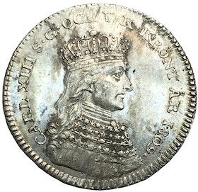 Karl XIII - Kastmynt till kröningen 1809 - Liten bild - 13 kända exemplar - Ett av de bästa existerande