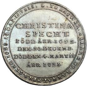 Christina Specht 1692-1721 - En synnerligen sällsynt medalj, utdelad till närmaste vännerna vid begravningen - RRR