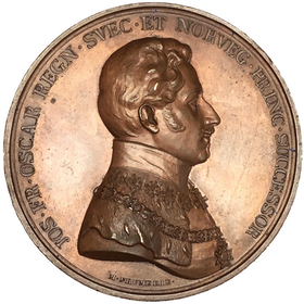 Sverige, Oskar I 1844-1859, Bronsmedalj med anledning av firandet av den Kungliga akademien 1835. Graverad av M. Frumerie