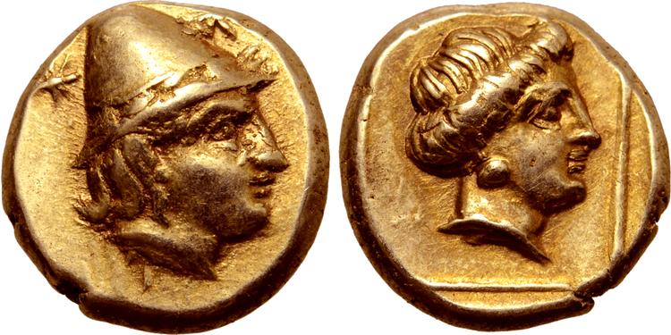 Lesbos, Mytilene, Hekte ca 377-326 f.Kr - Vackert exemplar GULD