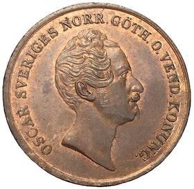 Oskar I - 2 Skilling Banco 1847 - Vackert rött toppexemplar