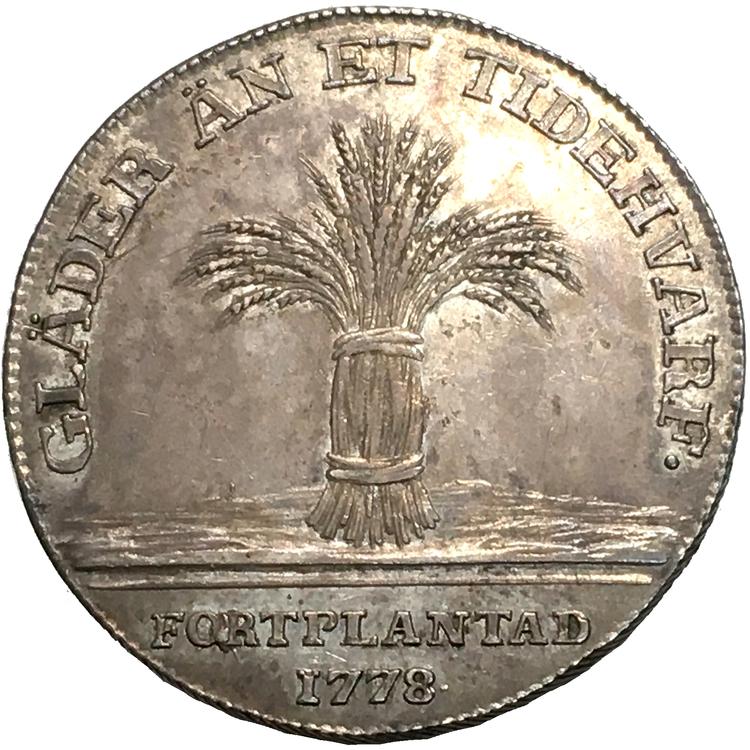Gustav III - Kastmynt 1778 med anledning av kronprins Gustav (IV) Adolfs födelse - MYCKET VACKERT EXEMPLAR